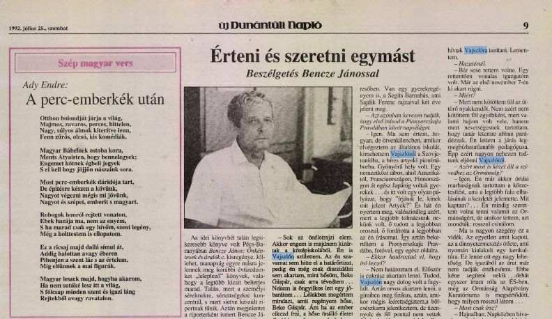 Új Dunántúli Napló, 1992. július 25.