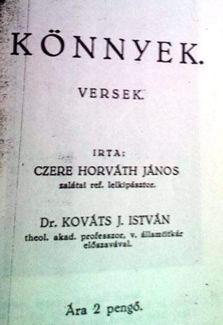 Cz-H. János verseskötete, 1936