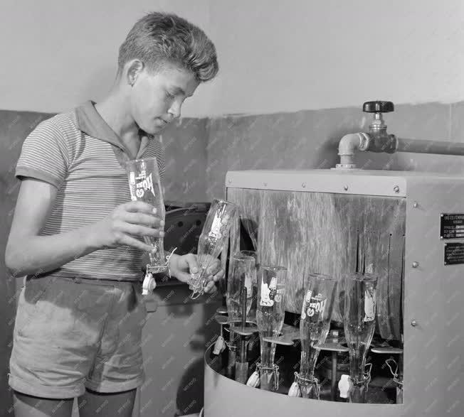 Sellye, 1961. július 17. A földműves-szövetkezet fiatal dolgozója a saját gyártású, Hüsi márkanevű üdítőital üvegeit mossa egy korszerű üvegmosógéppel. A szövetkezetben a négyféle ízben előállított itallal naponta 1000-1200 csatos üveget töltenek meg, s jövőre ezt a mennyiséget még tovább növelik. MTI Fotó: Kovács Lajos