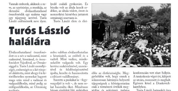 A Nimród c. lapban megjelent nekrológ
