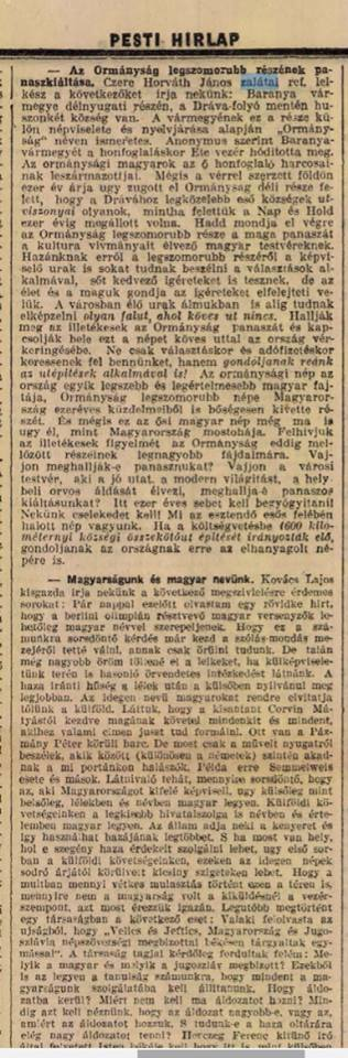Czere Horváth János a Pesti Hirlapban megjelent ormánysági utak állapotáról (193?)