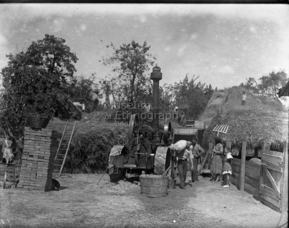 Cséplés géppel - <br />Régi formájú polyvahányó villa<br />Vajszló, 1934<br />Régi formájú polyvahányó villa