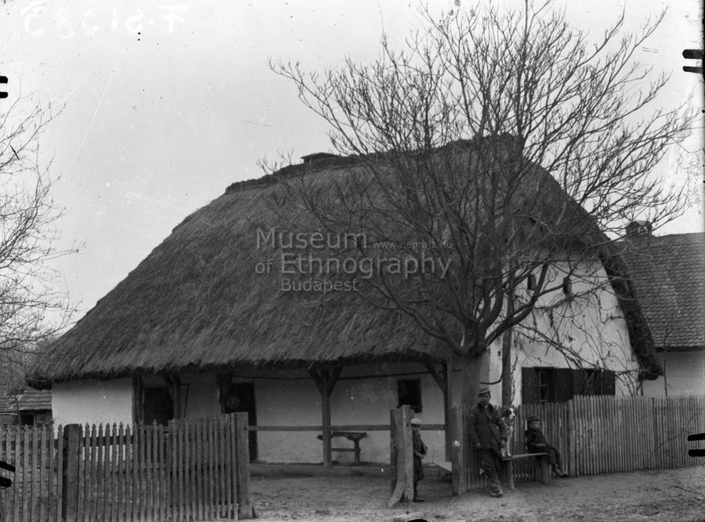 Szalmafedeles talpasház<br />Vajszló, 1910-es évek<br /><br /><br />ff., üvegnegatív, 9x12 cm