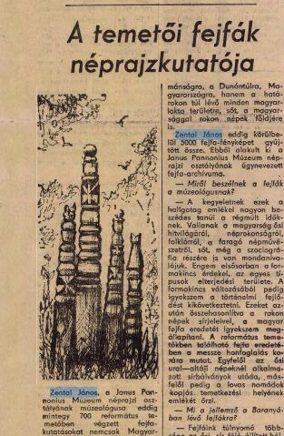 Dunántúli Napló, 1972. november 11. <br />Zentai János a temetői fejfák kutatója<br />
