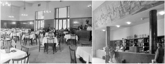10. kép A mai váróterem egykori étterme és a kávézó pultja a győri várat ábrázoló muráliával [forrás Fortepan, Régigyőr].jpg