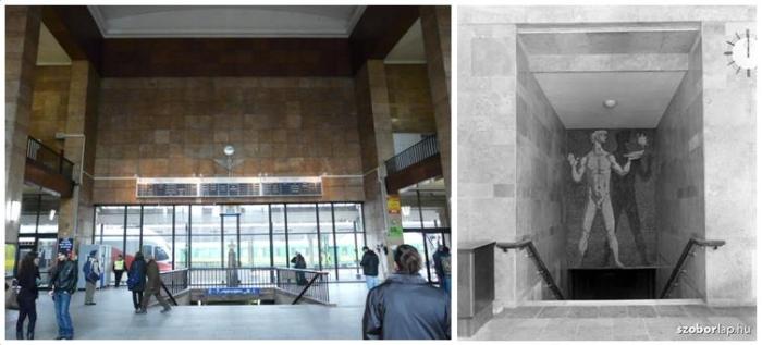 7. kép A központi fogadó csarnok galériás belső tere [a szerző felvétele] és a keleti közlekedő lépcsőfeljáró mozaikja [kozterkep.hu].jpg