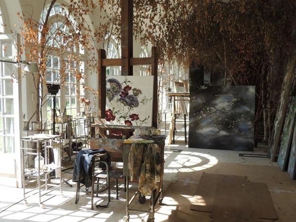 Kastély, festészet, virágok