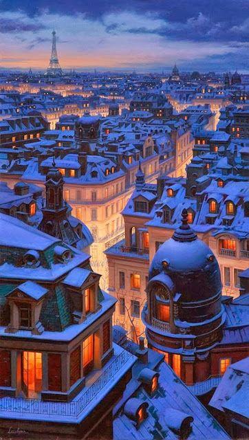 Párizsi háztetők. Fotó vagy valamilyen művész rajz? Nem tudom eldönteni.