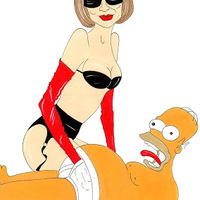 Anna Wintourt elfenekeli, lábtartónak használja, majd megkötözi Homer Simpson