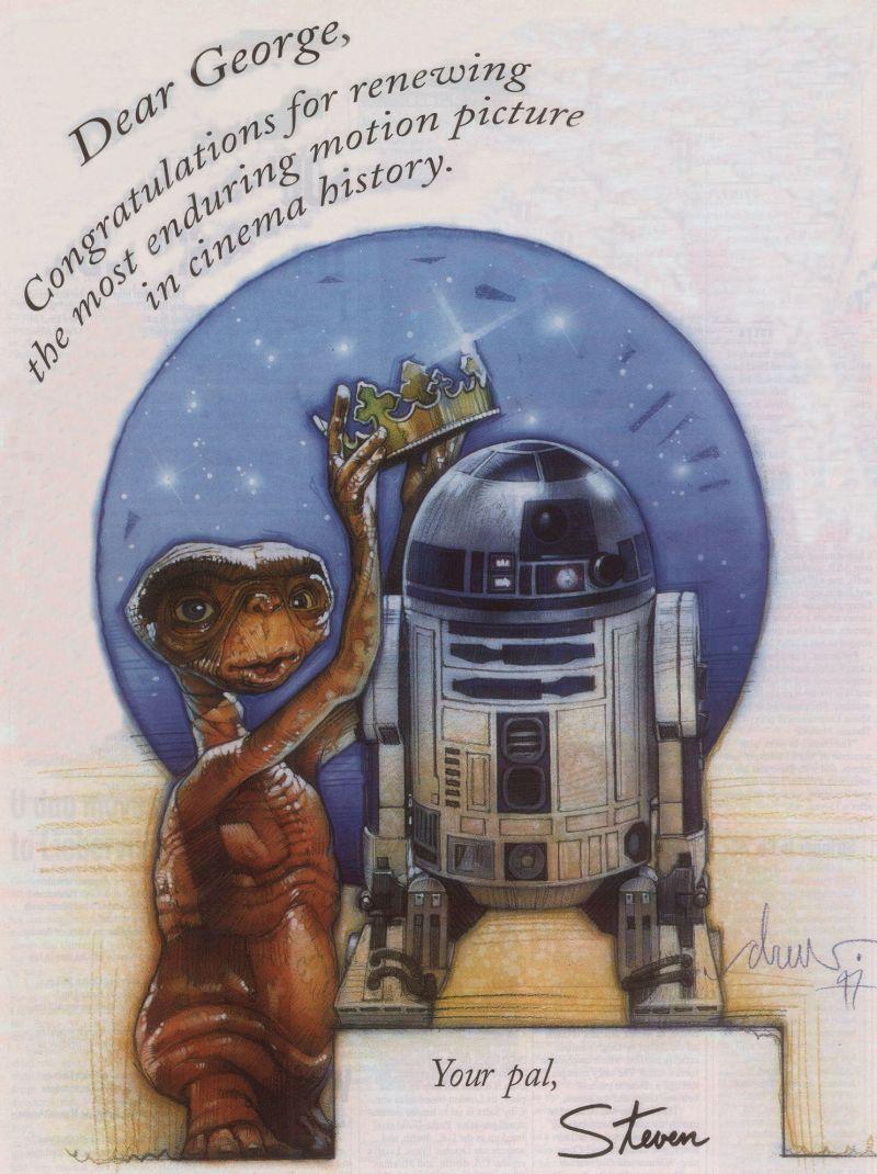 E.T. átadja R2-D2-nak a koronát. Így gratulált Spielberg Lucasnak 1997-ben, amikor a Csillagok háborúja 15 év után ismét a mozikasszák királya lett.