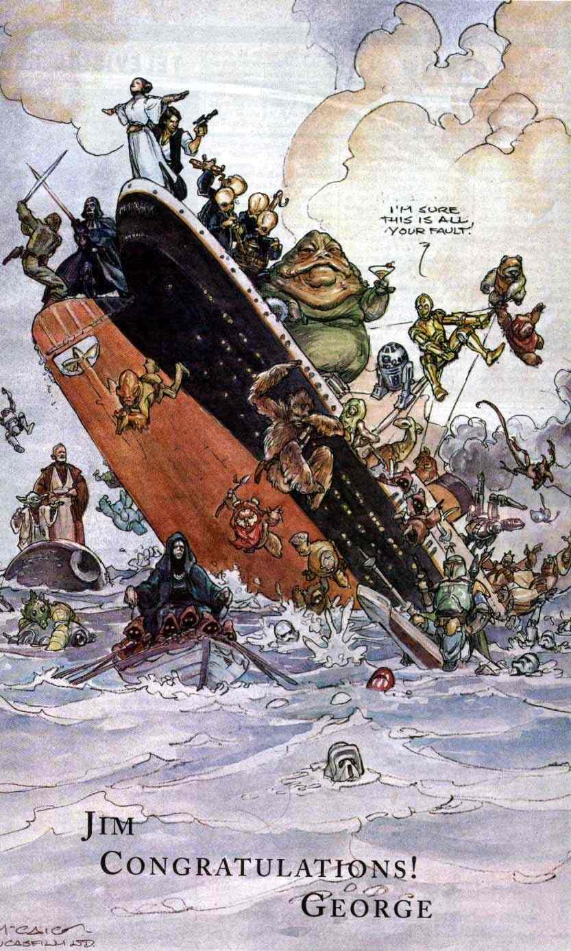 1998-ban George Lucas ezzel a grafikával kedveskedett James Cameronnak, amikor a Titanic elhódította a Star Wars elsőségét.