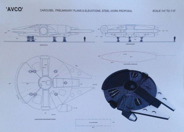 Az acélszerkezet tervei a Falcon díszletéhez