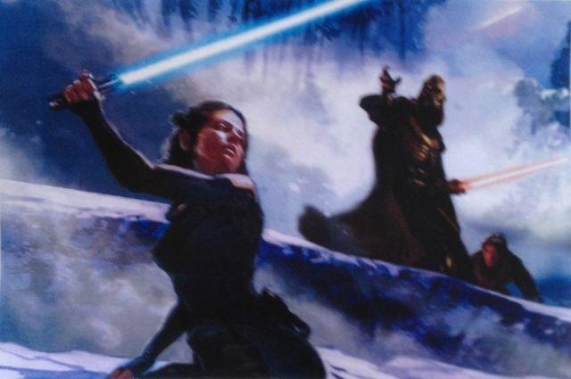Egy újabb izgalmas festmény. Jégvilág? Darth Vader? Ridley fénykarddal.