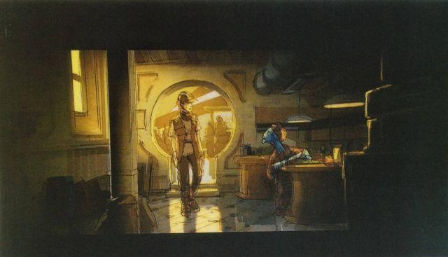 Kantinban játszódó jelenet terve. A képen Daisy Ridley karaktere és egy idegen lény.