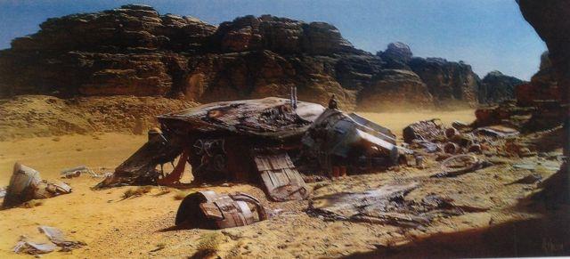 Mind közül talán a leghangulatosabb látványterv: homokba temetett lépegető. Érdemes észrevenni a lépegető fején ücsörgő szereplőt.