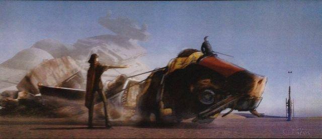 Hátas állat vontat egy X-szárnyút. A drámai hátteret lépegető roncsa és lezuhant csillagromboló adja.
