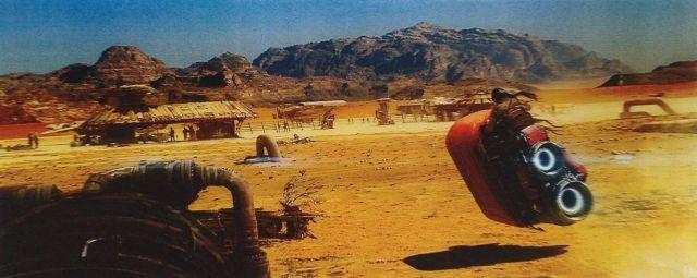 Akár a film képkockája is lehetne: robogó szerű járgány tart egy sivatagi helyszín felé.