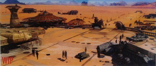 Sivatagi kikötő, parkoló Millennium Falconnal és blokádtörő hajóval. A felirat tanúsága szerint félkész változat.