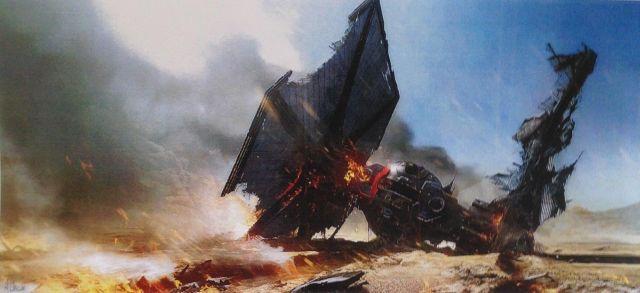 Még egy erős kép: Lángoló TIE vadász szántja fel a bolygó felszínét.