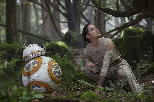 BB-8 és Rey az erdőben