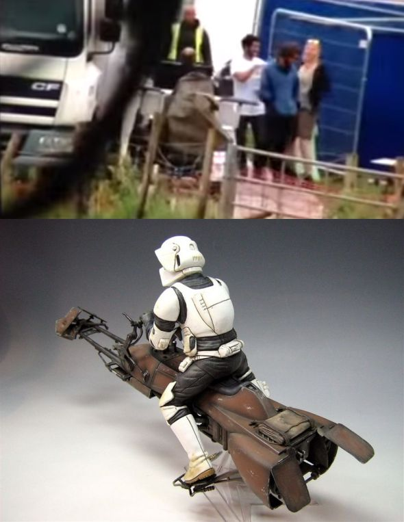 A felső képet a BBC operatőre készítette Puzzlewoodnál. Kivehető A Jedi visszatérből ismert robogó hátulja.