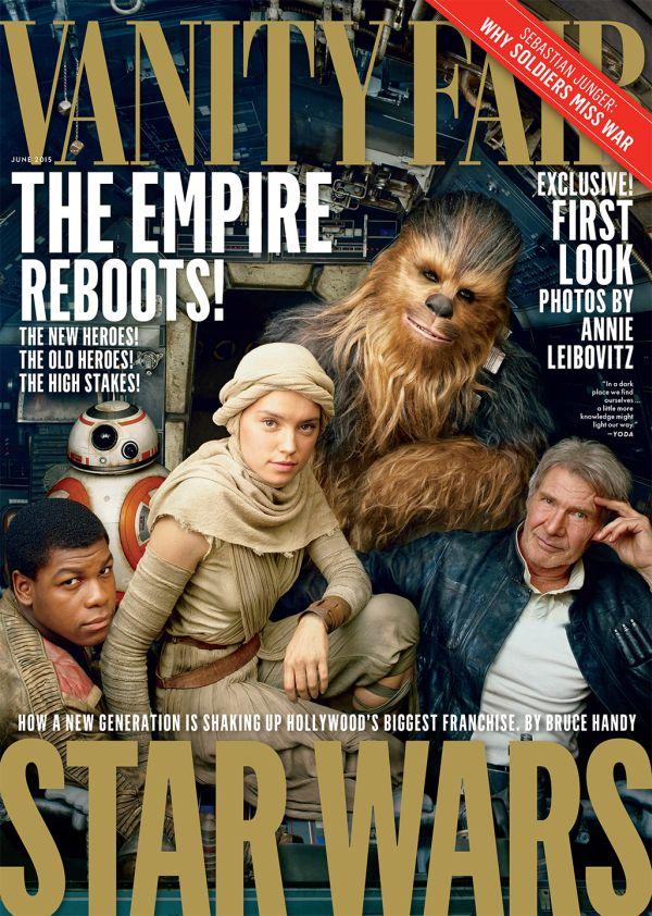A május 12-én megjelenő Vanity Fair címlapján Finn (John Boyega), BB-8, Rey (Daisy Ridley), Csubakka (Peter Mayhew) és Han Solo (Harrison Ford). Na meg a Millennium Falcon pilótafülkéje.