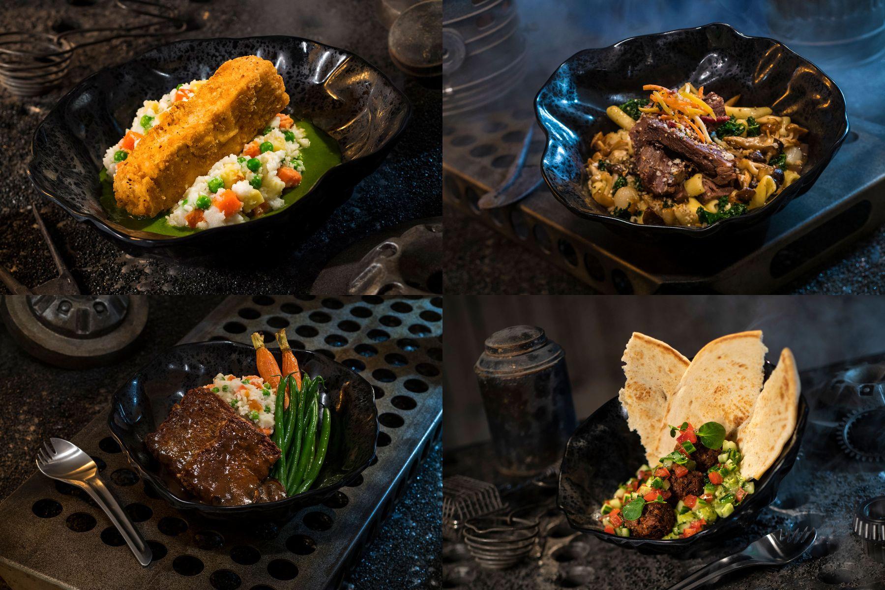 Galaktikus étkek: endori rántott tip-yip és párolt shaak sült (fent), ithori kerti fasírt és feluciai kerti falatok (lent)