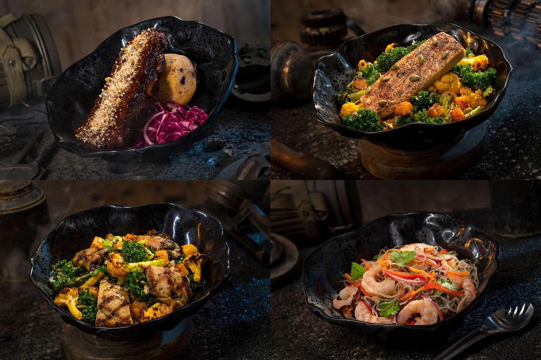 Füstölt kaadu borda és sütőben sült burra hal (fent), roston sült tip-yip és nabooi yobshrimp tésztasaláta (lent)
