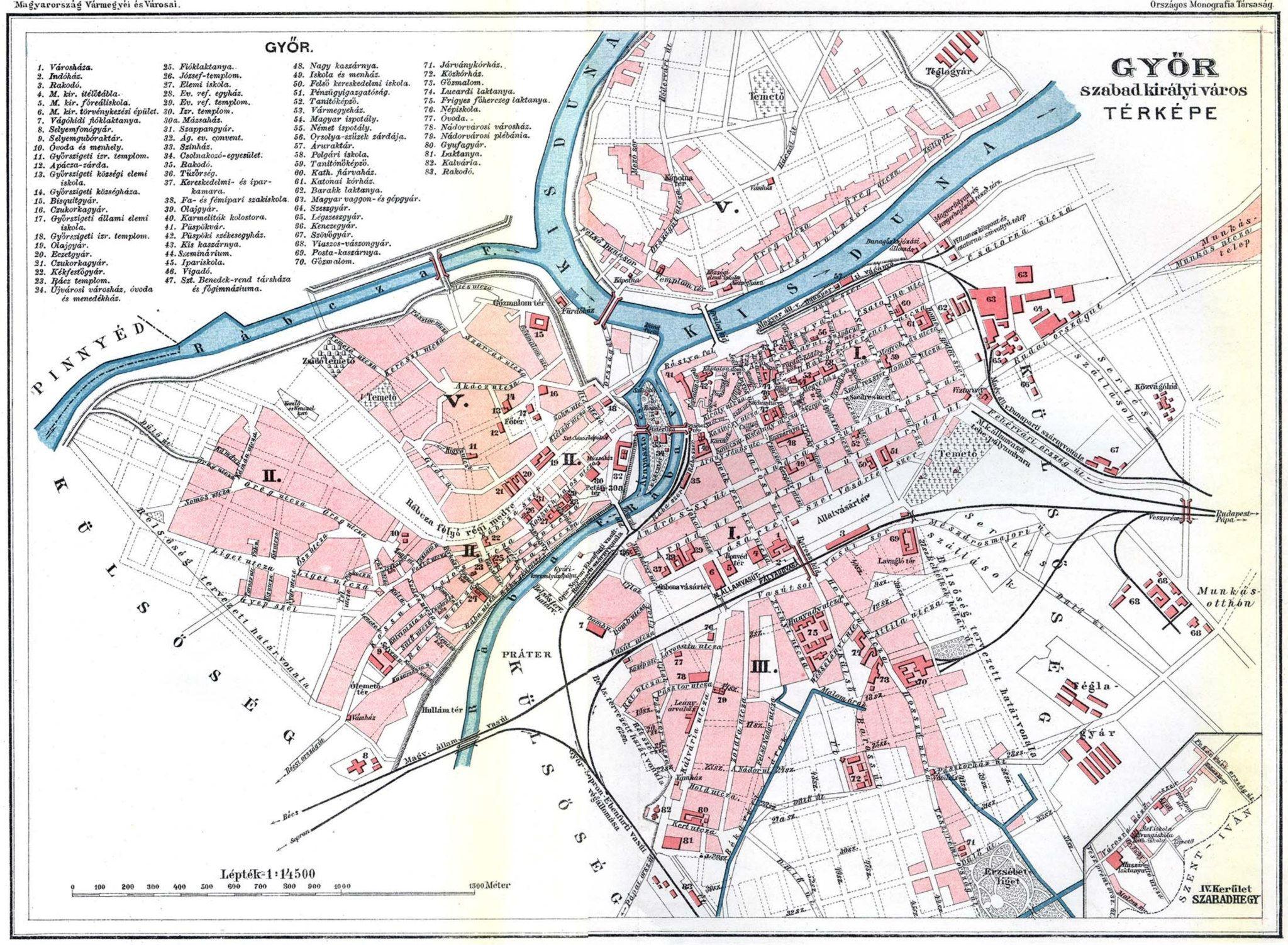 győr vasútállomás térkép Erődből gyárváros   Győr városföldrajza az 1970 es évekig   Pangea győr vasútállomás térkép