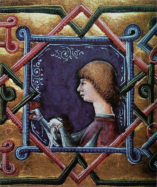 Janus Pannonius arcképe Vitéz János művének, a Plautus-kódexnek egy lapján.jpg