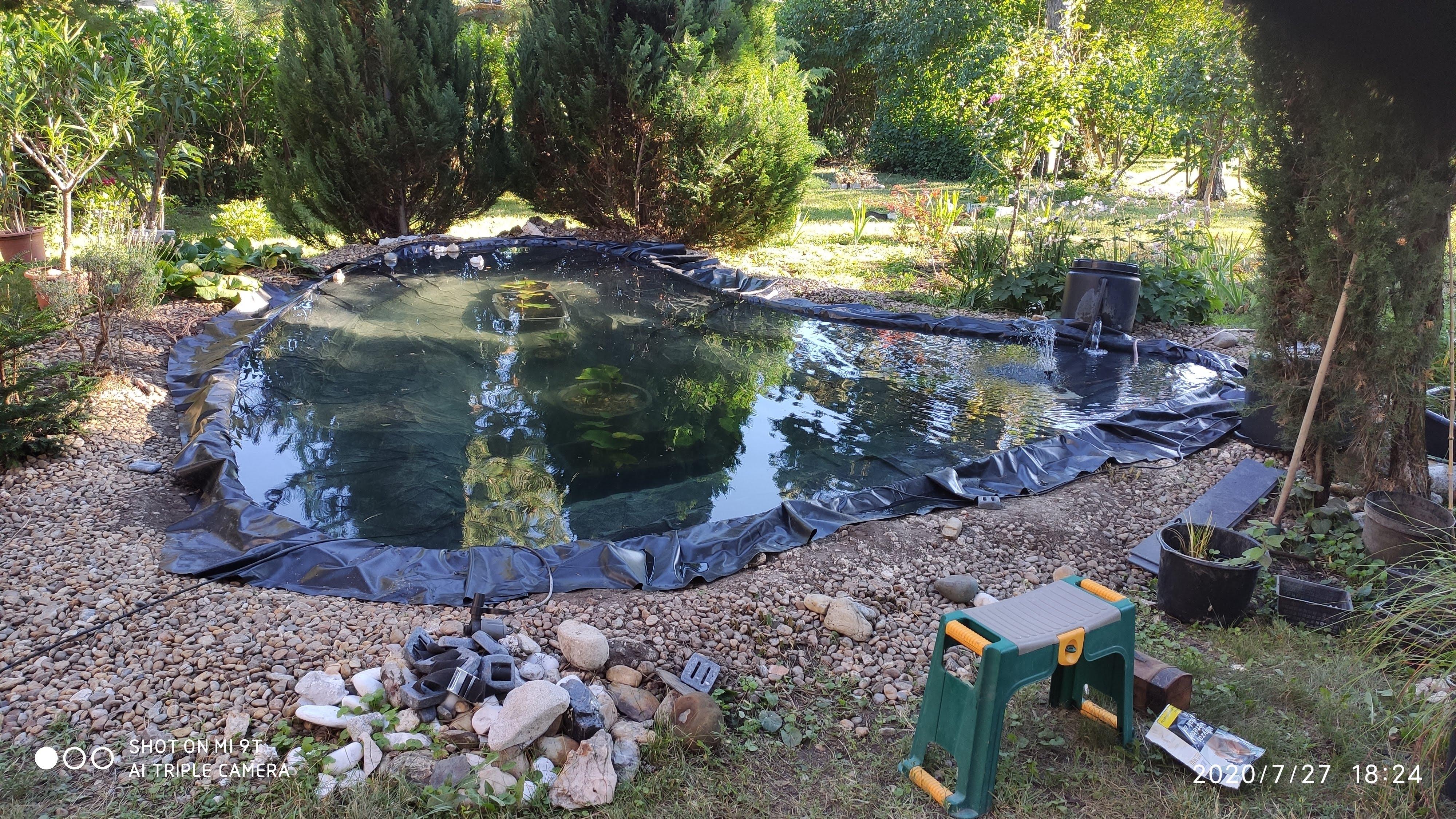 Másnap újabb növények be, és megint 2 részletben a tó teljes feltöltése. Már felsejlik, hogy a perem vízszintezéssel gondok vannak. A víz még tiszta, levegőztetés bővítve, hogy a halakat is lehessen visszatelepíteni.