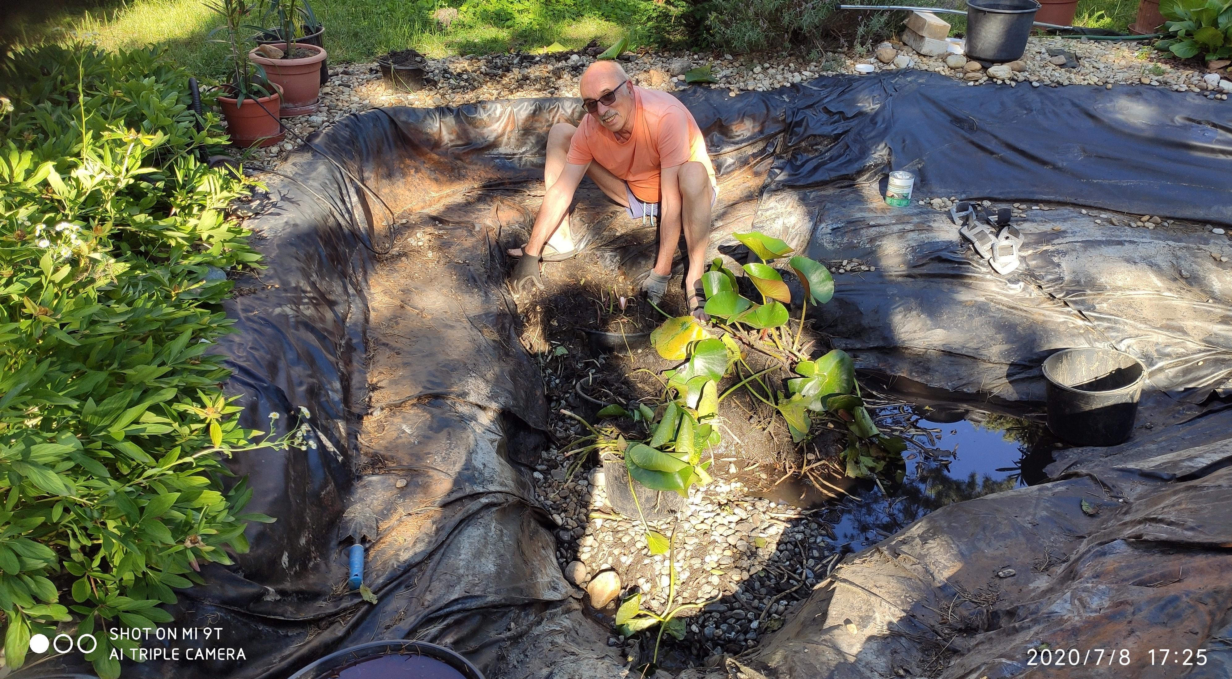 A nyár közepén nekiestünk a kerti tavunknak.