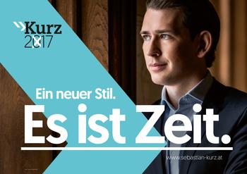 Ausztria: Österreichische Volkspartei, ÖVP (Osztrák Néppárt) 'Egy új stílus. Itt az idő.'<br />