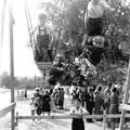 Nagykovácsi búcsú 1955. Röpül a hajóhinta. Kerekes Béla fotója