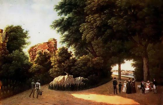 Vízfestmény 1800 körül - József főherceg által az orosz cárnak küldött képek egyike, a fa alatt ü.jpg