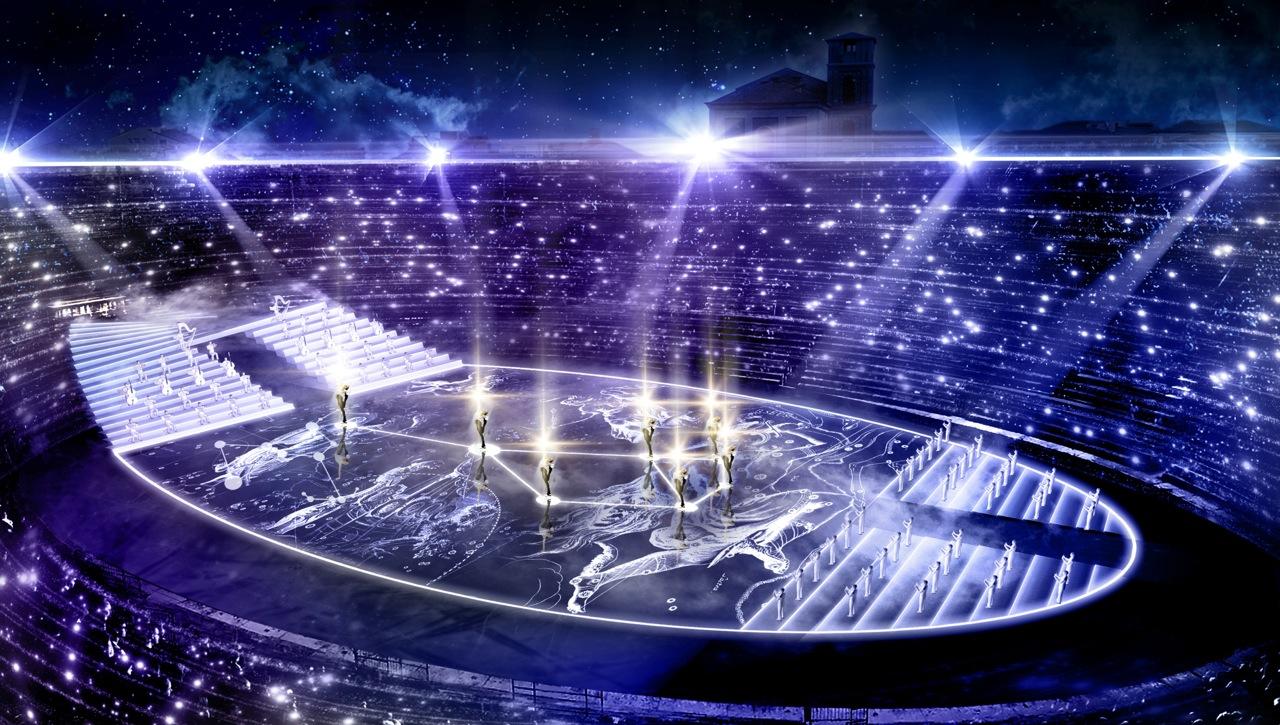 A show. Most először, egy teljesen felújított (az ókori római arénákéhoz hasonló), központba helyezett színpadnak köszönhetően a közönség  valódi 360 fokos élményben részesül. A show egy viharos tengerrel indul, amelyből Afrodité istennő kiemelkedik egy kagylóhéjon, készen arra, hogy fantasztikus világokba utazzon - a liliomtavak és fénylő csillagképek, heves csaták és videojátékok univerzumai között. A klasszikus mitológia modern újraértelmezése: ott lesz Vénusz és Trójai Heléna, Kirké és Medúza. A görög mitológia leghíresebb nőfigurái a főszereplői ugyanazon szerelmeknek és tragédiáknak, amelyek a kortárs életet színesítik. Történeteiken keresztül az A Legend of Beauty a nőiséget ünnepli, a világ legtehetségesebb zenészeivel és sportolóival együttműködve.  <br />
