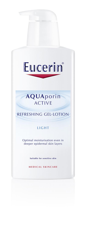 Eucerin AQUAporin ACTIVE Frissítő tusfürdő <br /><br />A bőrnek vízre van szüksége ahhoz, hogy egészséges, hidratált, puha és rugalmas lehessen. Az Eucerin AQUAporin ACTIVE Hidratáló termékek a bőr saját hidratációs hálózatát használják, hogy biztosítsák a szükséges mennyiségű nedvességet. Az egyedi, szabadalmaztatott formula egy Nobel-díjjal jutalmazott tudományos felfedezésen, az aquaporin csatornák felfedezésén alapul. Az aquaporin csatornák a nedvesség áramlását biztosítják a sejtek között. A termékcsalád glüko-glicerol hatóanyagot tartalmaz, ami serkenti az új aquaporin csatornák képződését és ezáltal javítja a nedvességeloszlást a bőrben.