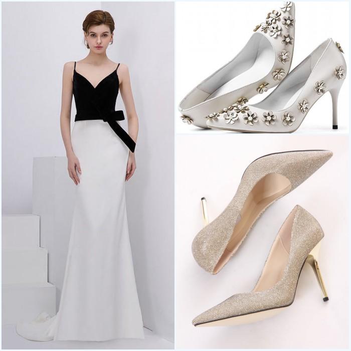 escarpins à talon pour assortir à la robe soirée mariage bicolore