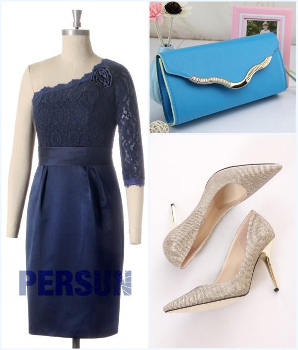 robe bleu marine pour mariage, sac et escarpins