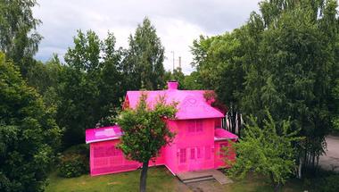 Horgolt anyagba öltöztetett ház