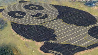Panda alakú napelemfarm