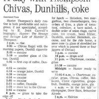 Döbbenetes lista Hunter S. Thompson napi betevőjéről...