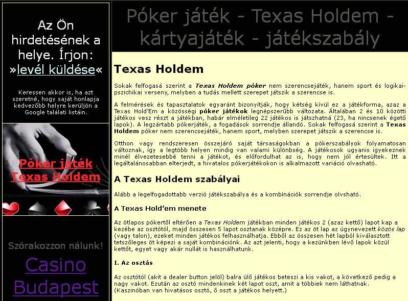 Poker texas holdem budapest