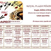 Royal Flush Póker Klub - Versenynaptár