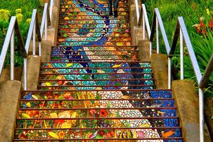 Színes lépések - lépcső street art