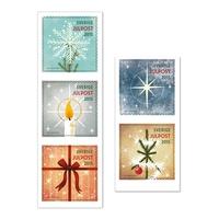 Karácsony jelképei az északi országok bélyegein