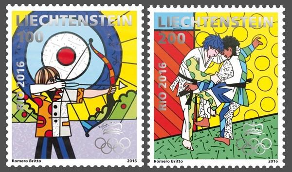 Liechtenstein - Romero Britto pop-artos bélyegtervét valósították meg, aki az íjászat és judo sportágakat formázta meg kreatív módon.<br />