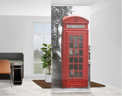 Fiatalos, lendületes telefonfülke design fotó térelválasztó függöny