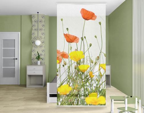 Pipacsos rét design fotó térelválasztó függöny szobába, konyhába, fürdőszobába...
