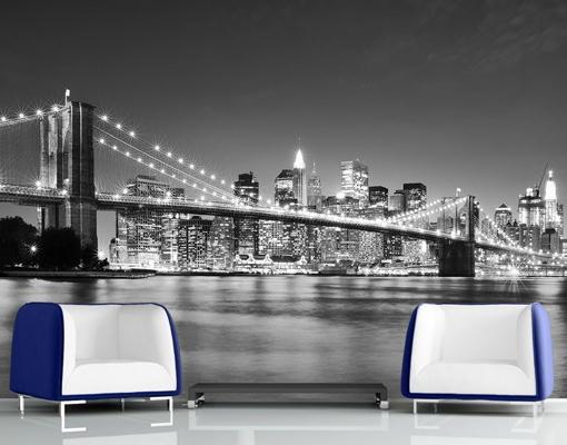 Manhattan Brooklyn híd  - egész falas fekete-fehér poszter tapéta